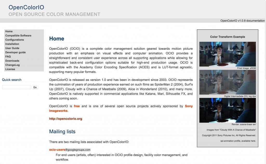 OpenColorIOウェブサイト